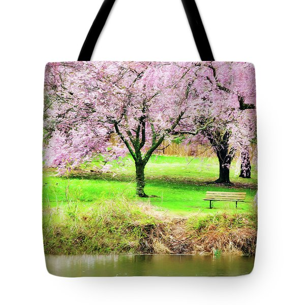 Tote Bag featuring the photograph Empty Bench Surrounded By Spring Colors by Gary Slawsky