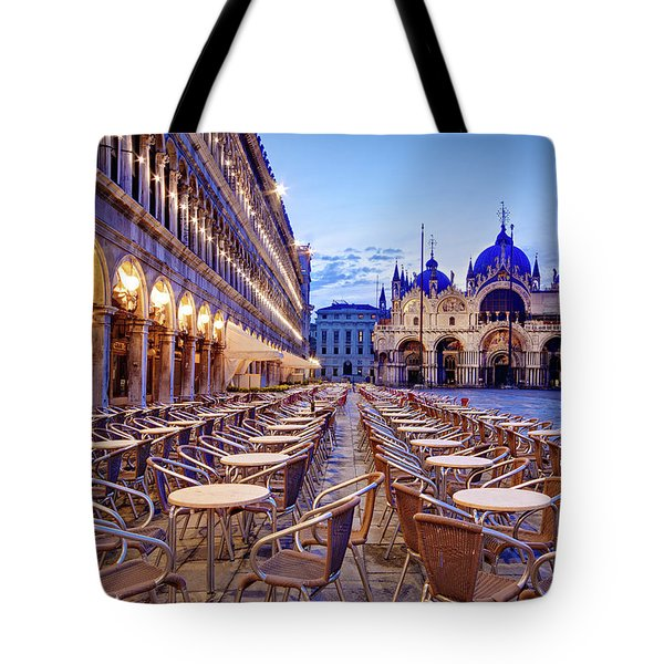 Empty Cafe On Piazza San Marco - Venice Tote Bag