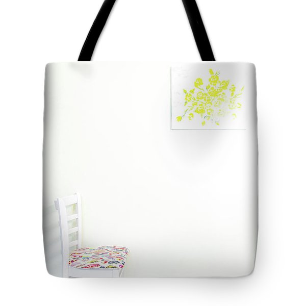 Empty Chair With Yellow Roses Tote Bag
