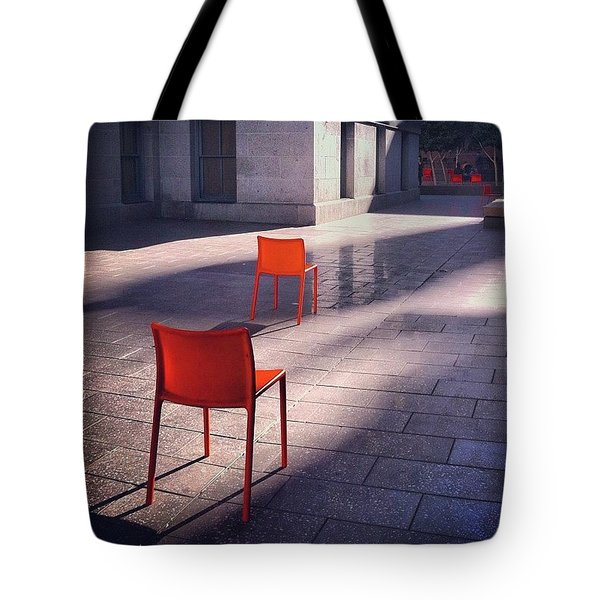 Empty Chairs At Mint Plaza Tote Bag