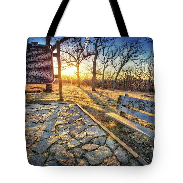 Tote Bag featuring the photograph Empty Park Bench - Sunset At Lapham Peak by Jennifer Rondinelli Reilly - Fine Art Photography
