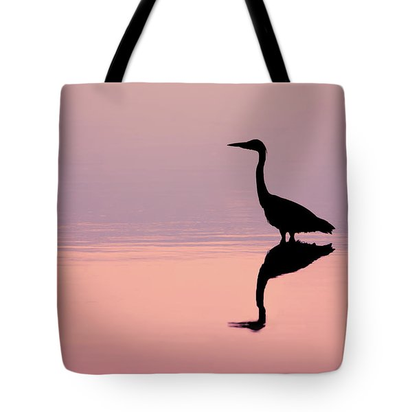 Empty Spaces - Grey Heron Silhouette Tote Bag