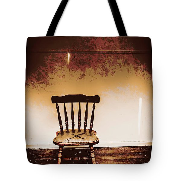 Empty Wooden Chair With Cross Sign Tote Bag