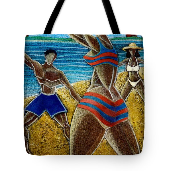 Tote Bag featuring the painting En Luquillo Se Goza by Oscar Ortiz
