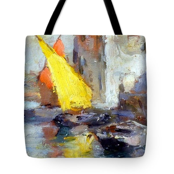 Tote Bag featuring the painting En Plein Air In Venice by Rosario Piazza