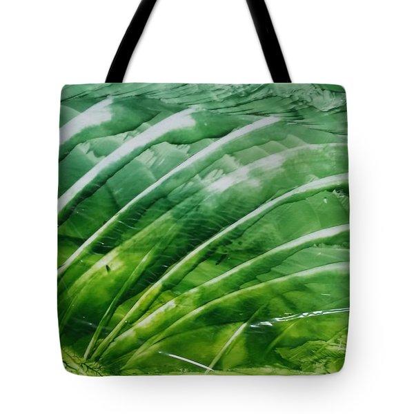 Encaustic Abstract Green Fan Foliage Tote Bag
