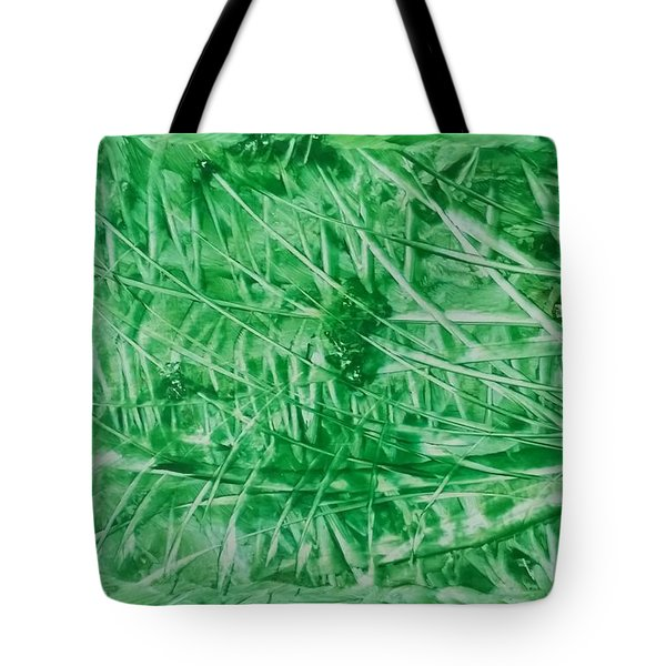 Encaustic Abstract Green Foliage Tote Bag
