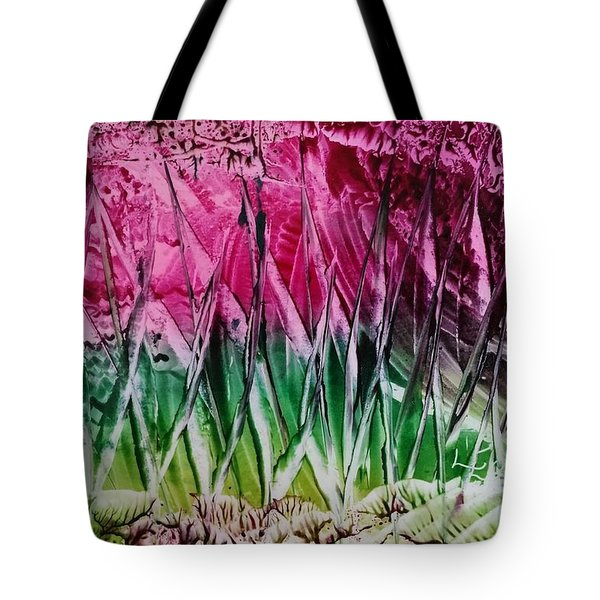Encaustic Abstract Pinks Greens Tote Bag