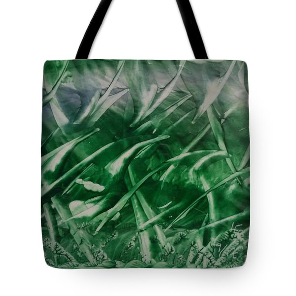 Encaustic Green Foliage With Some Blue Tote Bag
