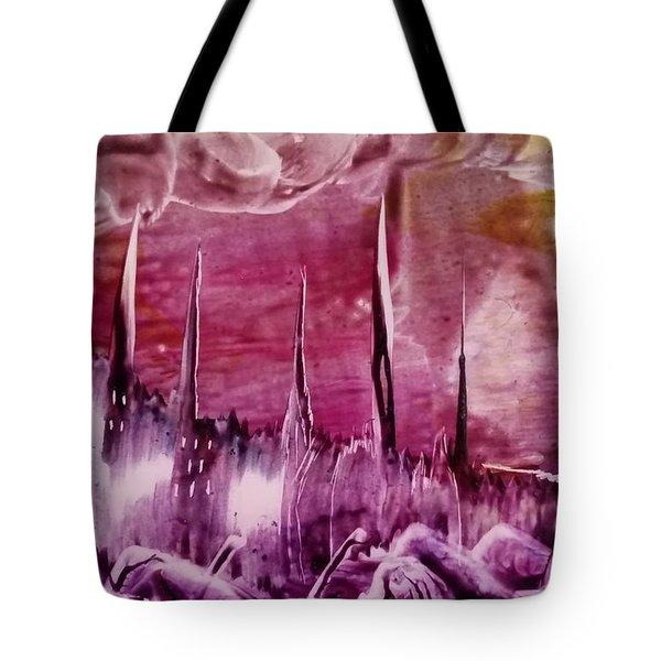 Encaustic Purple-pink Abstract Castles Tote Bag