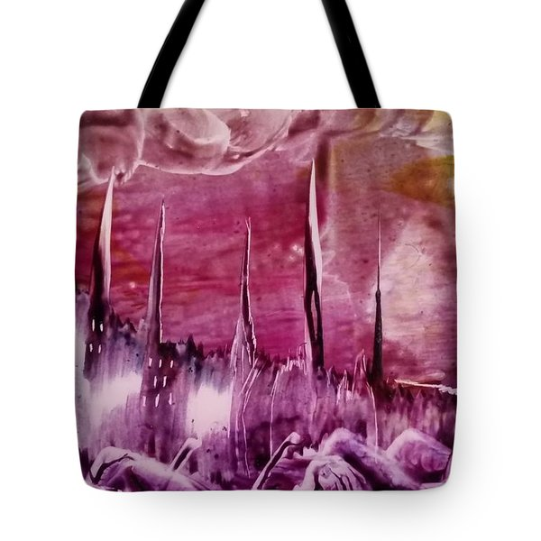 Encaustic Purple-pink Abstract Castles Tote Bag