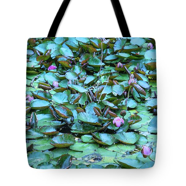 Tote Bag featuring the photograph Painted Water Lilies by Theresa Tahara