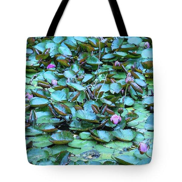 Painted Water Lilies Tote Bag by Theresa Tahara
