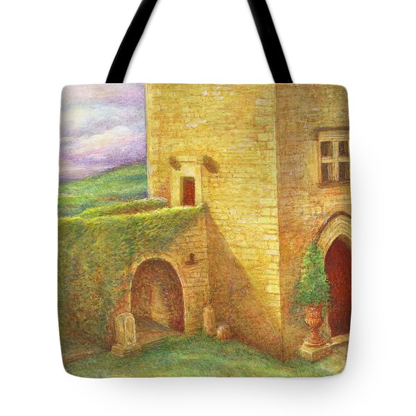Tote Bag featuring the painting Enchanting Fairytale Chateau Landscape by Judith Cheng