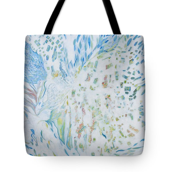 Tote Bag featuring the painting Encounter With Angels by Linda Cull