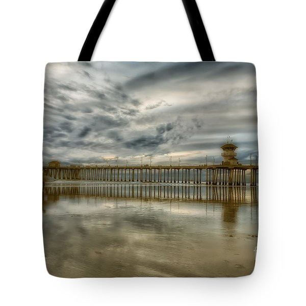 End Of Sunset Surf At Pier Tote Bag