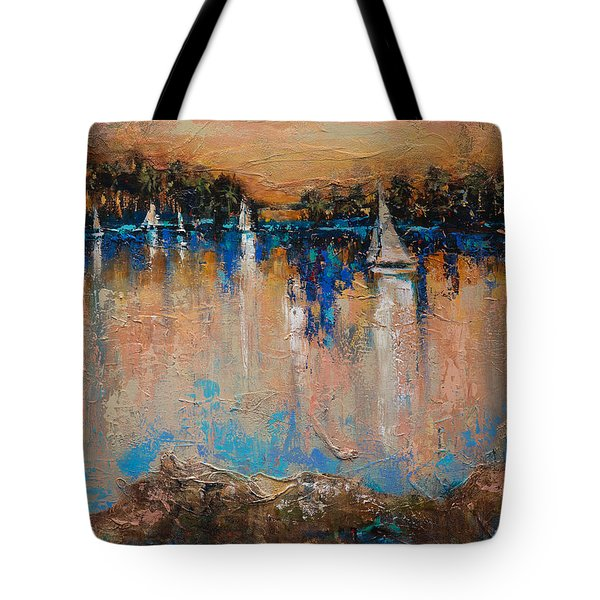 Tote Bag featuring the painting End Of The Race by Linda Olsen