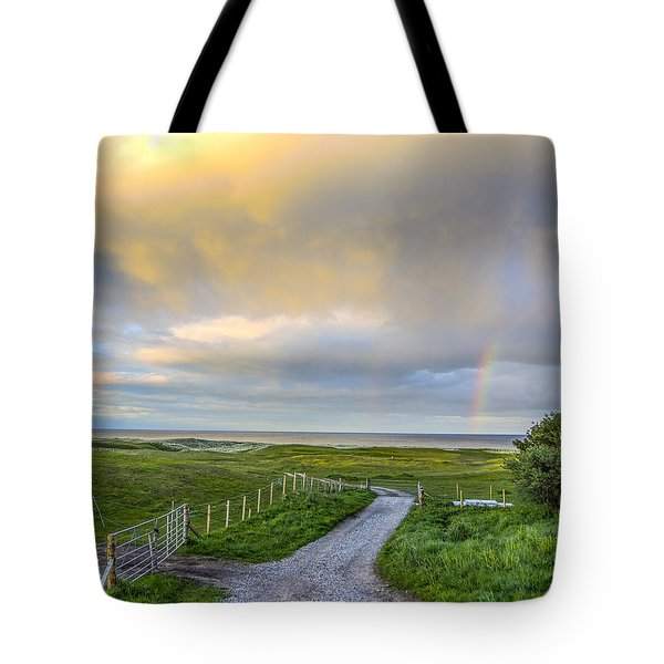 End Of The Road, Brora, Scotland Tote Bag by Sally Ross