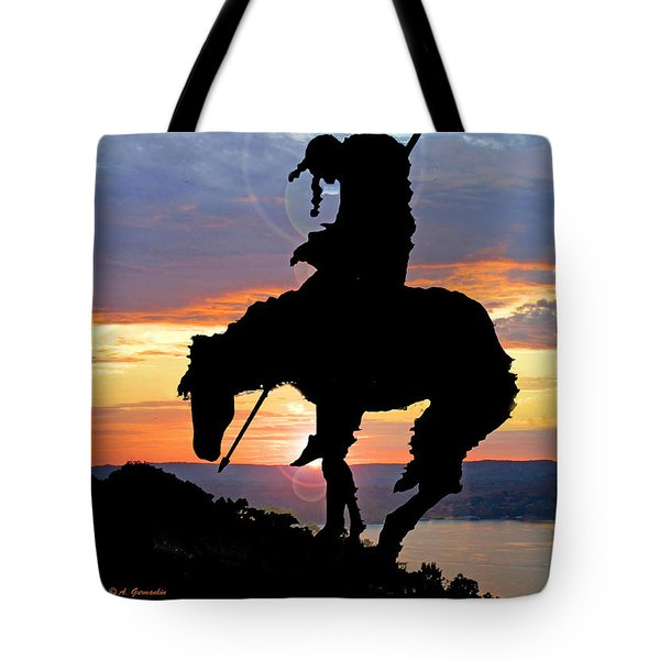 End Of The Trail Sculpture In A Sunset Tote Bag