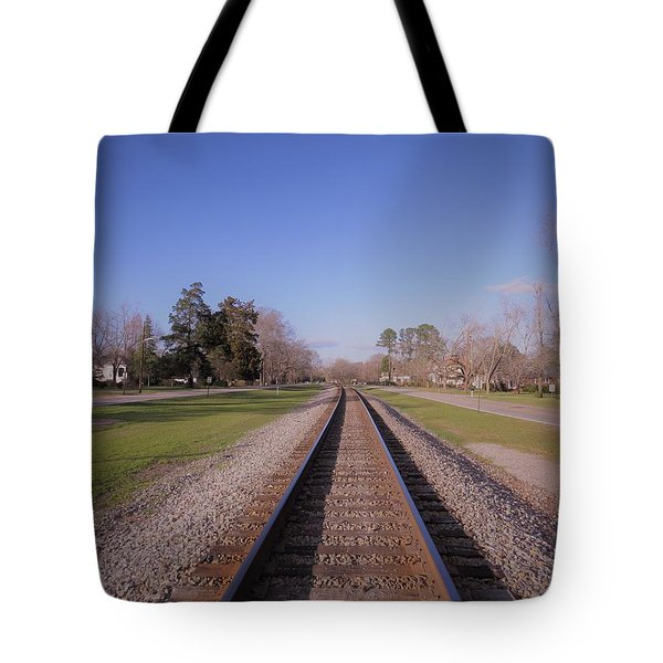 Tote Bag featuring the photograph Endless Railroad by Aaron Martens