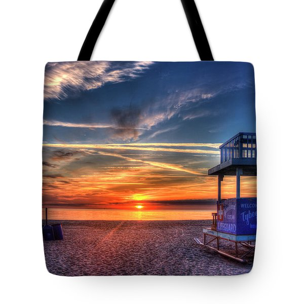 Tote Bag featuring the photograph Endless Summer Sunrise Lifeguard Stand Tybee Island Georgia Art by Reid Callaway