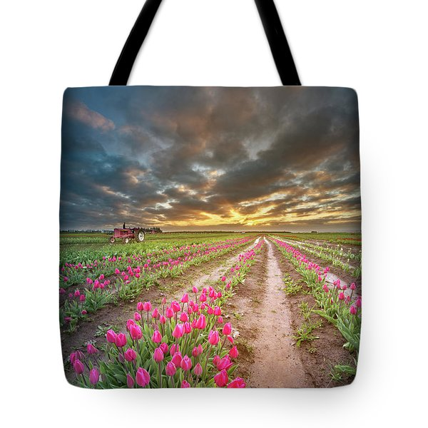 Tote Bag featuring the photograph Endless Tulip Field by William Lee