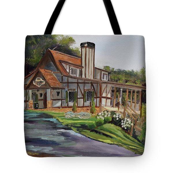 Tote Bag featuring the painting Engelheim In The Morning - Vineyard - Ellijay, Ga by Jan Dappen
