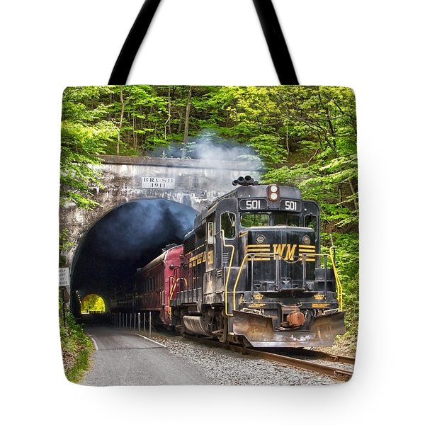 Engine 501 Coming Through The Brush Tunnel Tote Bag