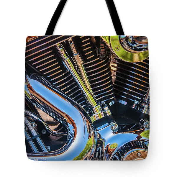 Tote Bag featuring the photograph Engine Chrome by Samuel M Purvis III