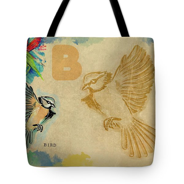 Tote Bag featuring the drawing English Alphabet , Bird by Ariadna De Raadt