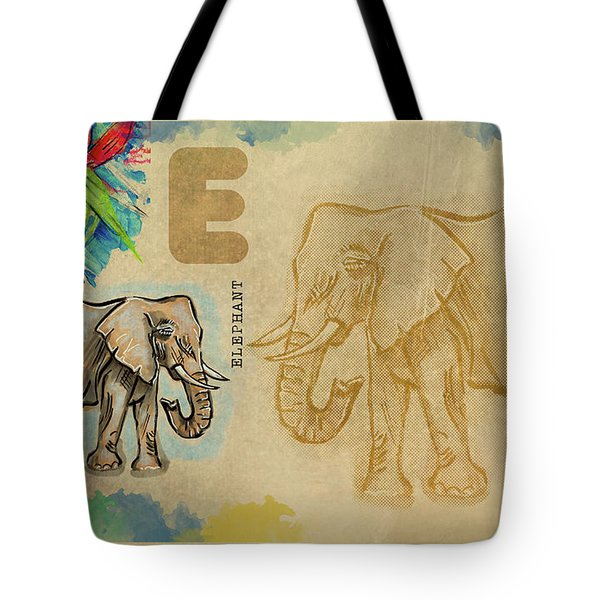 Tote Bag featuring the drawing English Alphabet , Elephant by Ariadna De Raadt