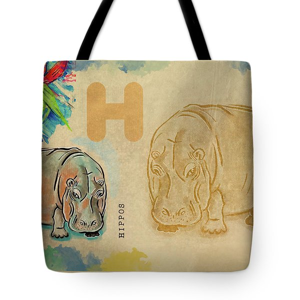 Tote Bag featuring the drawing English Alphabet ,  Hippos by Ariadna De Raadt