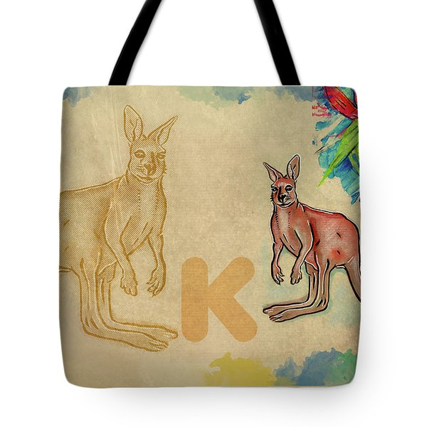 Tote Bag featuring the drawing English Alphabet , Kangaroo by Ariadna De Raadt