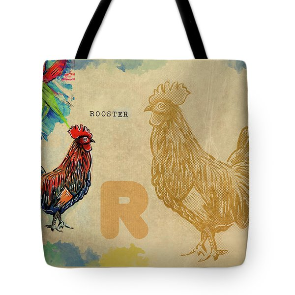 Tote Bag featuring the drawing English Alphabet , Rooster  by Ariadna De Raadt