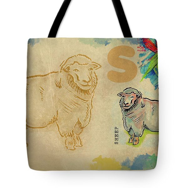 Tote Bag featuring the drawing English Alphabet , Sheep  by Ariadna De Raadt