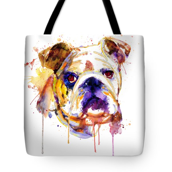 Tote Bag featuring the mixed media English Bulldog Head by Marian Voicu