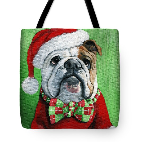 Holiday Cheer -english Bulldog Santa Dog Painting Tote Bag