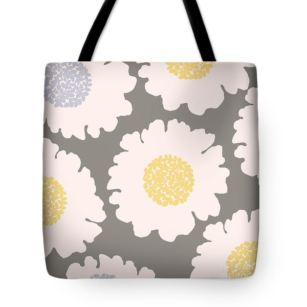 English Garden White Flower Pattern Tote Bag