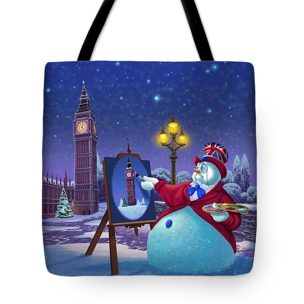 English Snowman Tote Bag by Michael Humphries