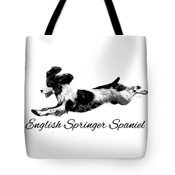 Tote Bag featuring the digital art English Springer Spaniel by Ann Lauwers