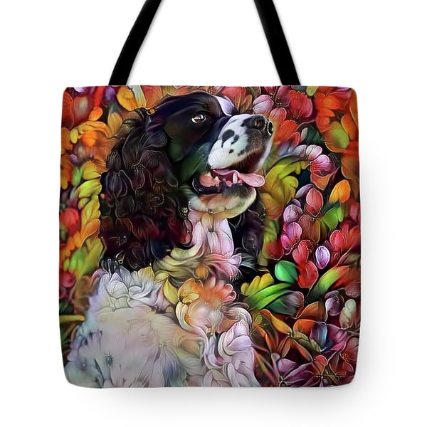 English Springer Spaniel In The Garden Tote Bag