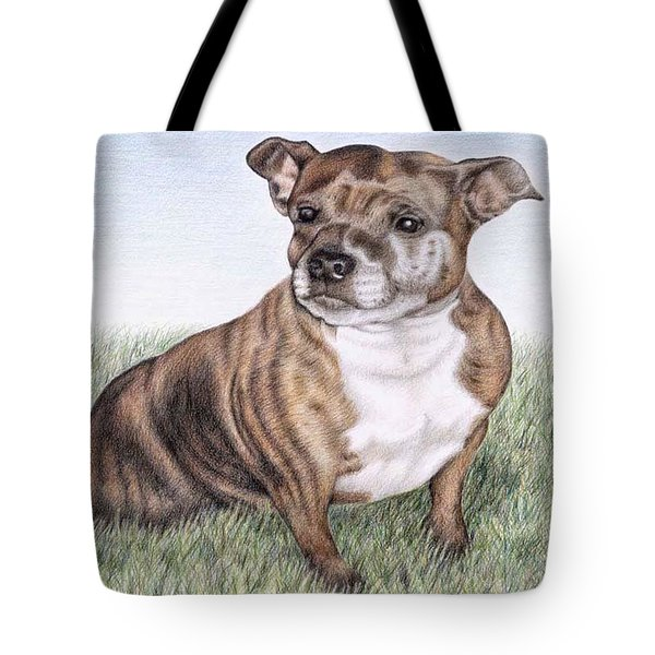 English Staffordshire Terrier Tote Bag by Nicole Zeug