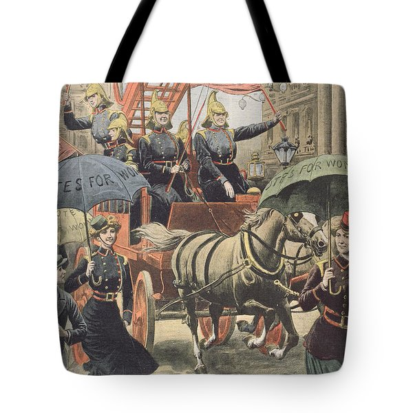 English Suffragettes Dressed As Firemen Tote Bag