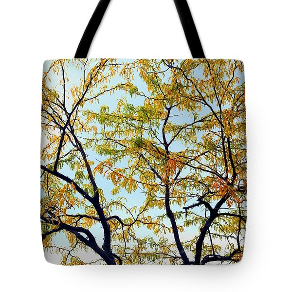 Tote Bag featuring the photograph Enhanced Fall Tree by Ellen Barron O'Reilly