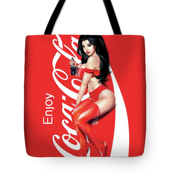 Tote Bag featuring the digital art Enjoy Coca Cola by Brian Gibbs