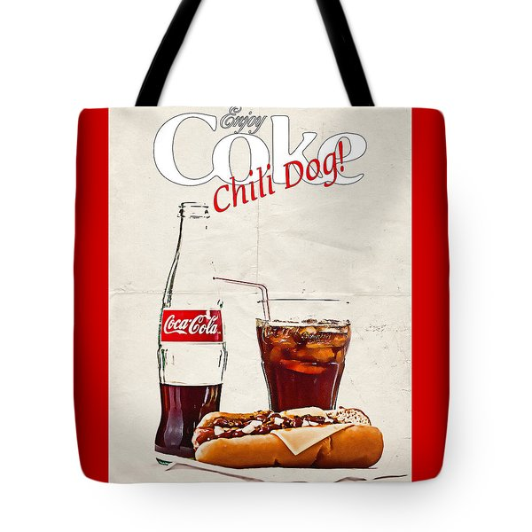 Tote Bag featuring the photograph Enjoy Coca-cola With Chili Dog by James Sage
