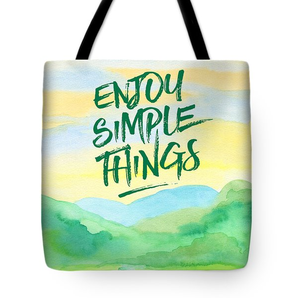 Enjoy Simple Things Rice Paddies Watercolor Painting Tote Bag