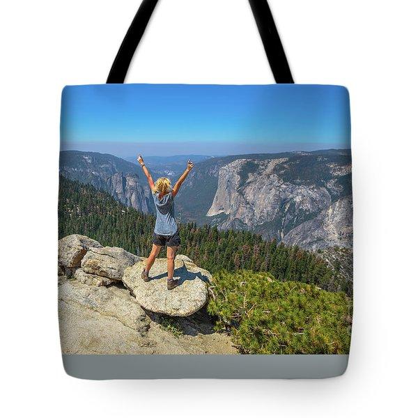 Enjoying At Yosemite Summit Tote Bag