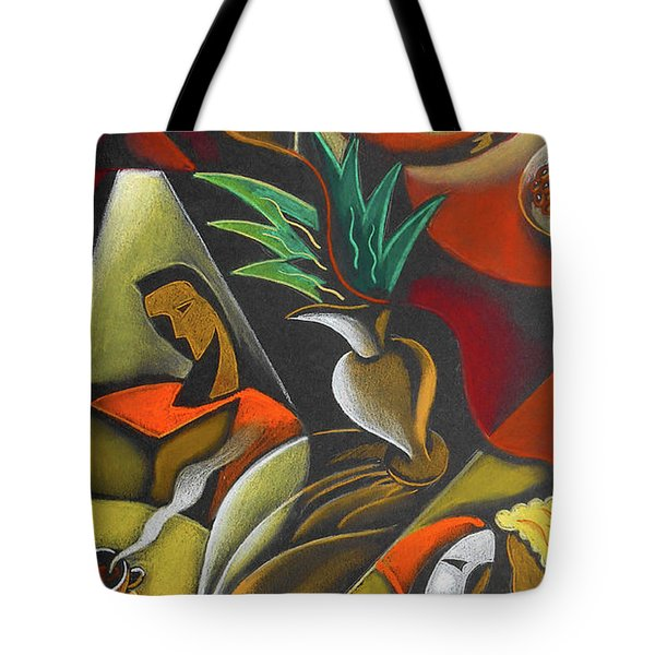 Tote Bag featuring the painting Enjoying Food And Drink by Leon Zernitsky