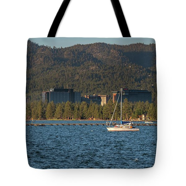 Enjoying The Lake Tote Bag